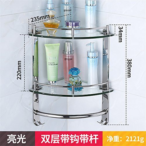 Glass tripod, bathroom shelf, 304 stainless steel corner frame, bathroom corner basket, kitchen pendant, wall hanging,Double hook with - Kitchen Sink Metal Frame