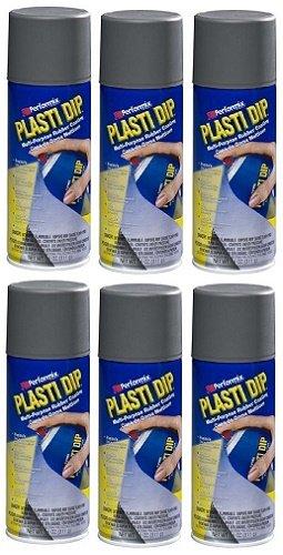 6-PACK Performix PLASTI DIP GUNMETAL GRAY 11OZ Spray CAN Rubber Handle ()