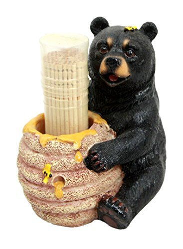 Bear Bee Honey (Ebros Honey Black Bear With Bee Hive Toothpick Holder Statue With Toothpicks Honeycomb Bear With Bee Hive Pot Figurine)