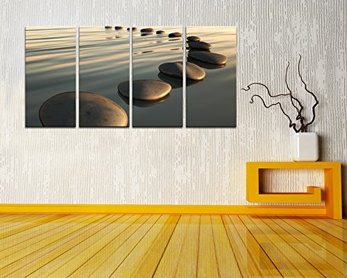Live Art Decor - Large Zen Canvas Wall Art Basalt Stone at Sunset Relax Picture Spa Living Room Office Wall Decor Peaceful Scenery Artwork Framed Ready to Hang- 64''W x 32''H overall by Live Art Decor (Image #4)