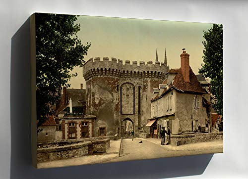 """History Galore 24""""x36"""" Canvas, Guillaume gate, Chartres, France, 1890 Photochrom"""