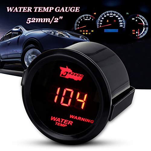 zzpopGG Motorcycle Water Temperature Gauge,Temperature Gauge,Car 12V 52mm Red Digital LED Electronic Water Temperature Gauge with Sensor