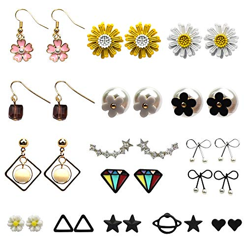 (JTX 16 Pairs Assorted Multiple Stud Earrings Set Plated Chic Fashion Vintage Earrings for Women Girls Pierced Earrings Set)