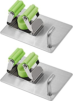 New Broom Clips Mop Hanging Wall Hook Handle Organizer White Kitchen Home 2 Set