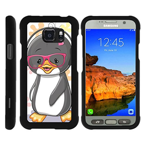 Penguin Duo (TurtleArmor | Compatible for Samsung Galaxy S7 Active Case | G891A [Slim Duo] Fitted Ultra Compact Slim Hard Cover Snap On Shell Protector on Black Animal Design - Cute Penguin)