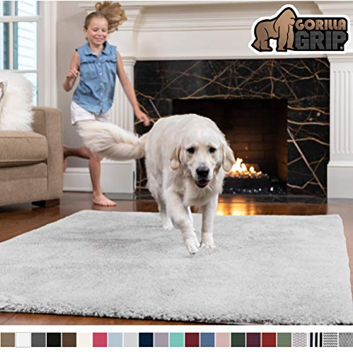 Gorilla Grip Original Faux-Chinchilla Rug, 4x6 Feet, Super Soft and Cozy High Pile Washable Carpet, Modern Rugs for Floor, Luxury Shag Carpets for Home, Nursery, Bed and Living Room, Light Gray