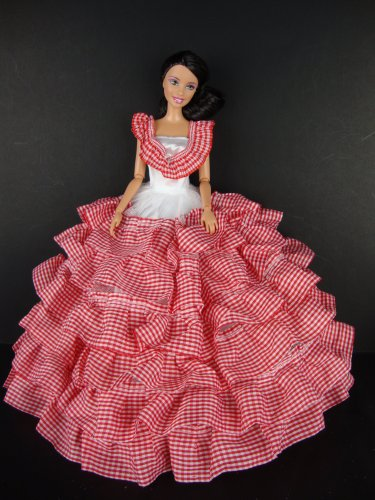 Red and White Dress with Lots of Ruffles Details Made to Fit the Barbie Doll, Baby & Kids Zone