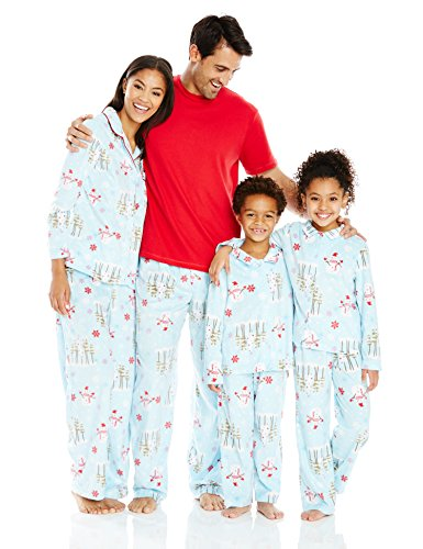 [Karen Neuburger Family Minky Fleece Collared Snowman Holiday Matching Pj Set,Aqua Snowman,Mom M] (Snowman Flannel)