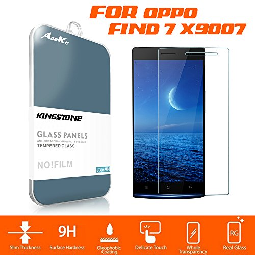 AnoKe Oppo Find 7 X9007 x9077 Tempered Glass Screen Protectors 9h Hardness 2.5d Rounded Edges 0.3mm Thickness