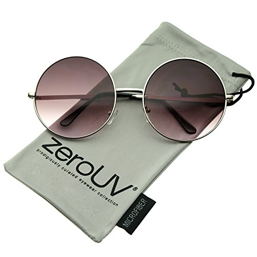 zeroUV - Super Large Oversize Slim Temple Round Sunglasses 61mm (Silver / - Sunglasses Large Round