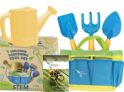 (Kids Garden Tools with STEM Learning Guide by ROCA Toys. Tote Bag, Watering Can, Shovel, Rake and Trowel - Summer Toys)