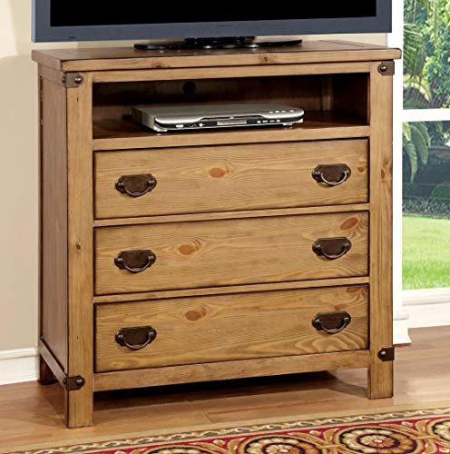 Furniture of America CM7449TV Pioneer Burnished Pine Media Drawer Chest ()