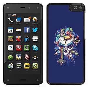// PHONE CASE GIFT // Duro Estuche protector PC Cáscara Plástico Carcasa Funda Hard Protective Case for Amazon Fire Phone / Purple Skull Snake Rainbow Colors /