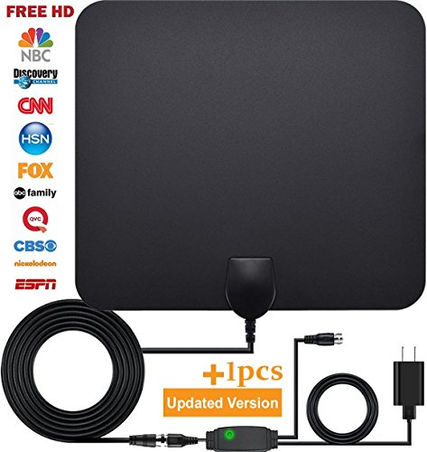 TV antennas, HDTV antenna for digital TV indoor, 50+ miles range with Detachable Signal Amplifier Booster for 1080P High Reception,HDTV antenna Updated Version Better Reception of Signal (Satellite Dish Indoor)