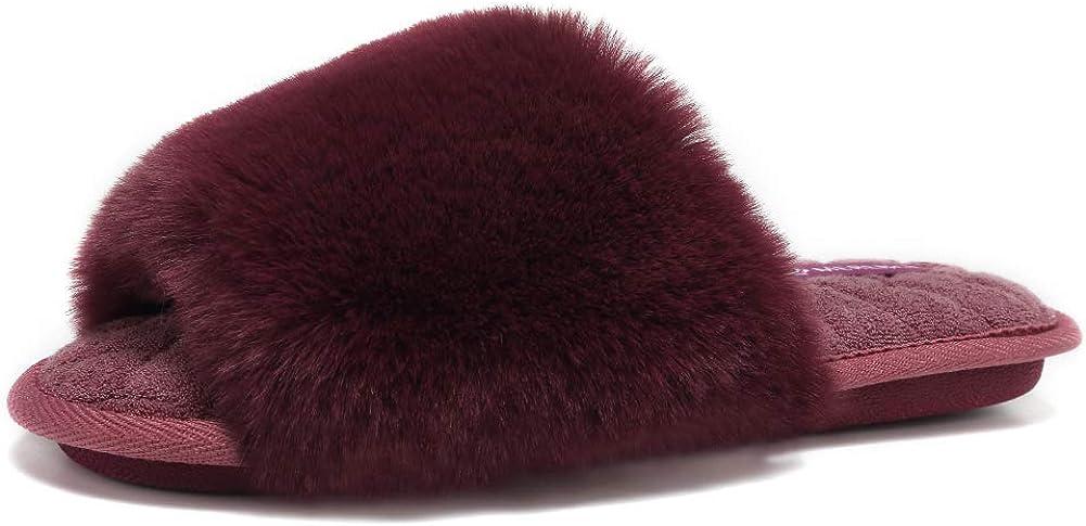 FANTURE Women's Furry Faux Fur Slippers Cozy Memory Foam House Slippers Soft Comfy Flat Slide Sandals Indoor Outdoor Slip on