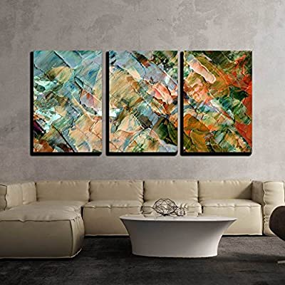 3 Piece Canvas Wall Art - Picture, Oil Paints: Abstract Background, Hand Paintings - Modern Home Art Stretched and Framed Ready to Hang - 16