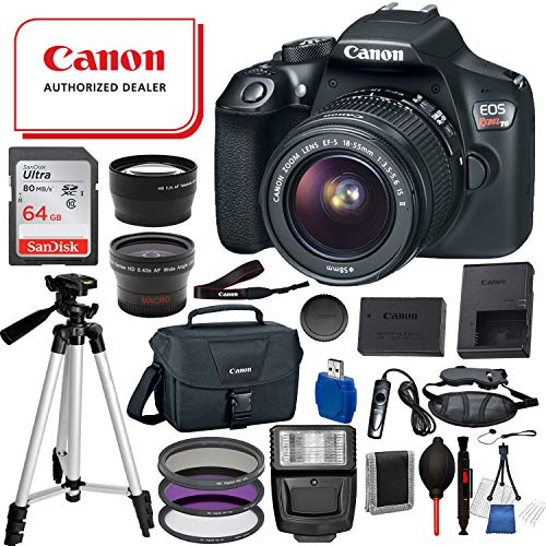 Canon EOS Rebel T6 Digital SLR Camera with EF-S 18-55mm is ii USA (Black) 19PC Professional Bundle Package Deal –SanDisk 64gb SD Card + Canon Shoulder Bag + More
