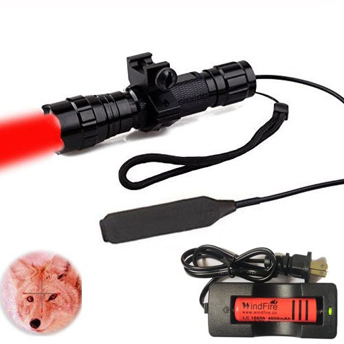 WindFire Waterproof CREE RED Light LED Coyote Hog Hunting Light Lamp Tactical Flashlight Torch With Pressure Switch and Rail Rifle Mount for Picatinny AR Hunting (Battery and Charger included)