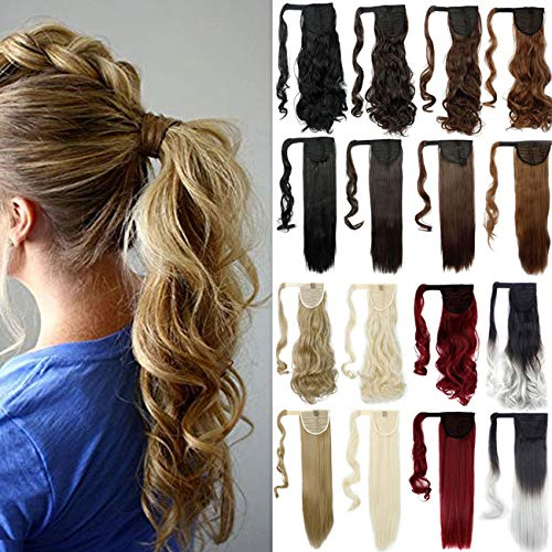 18' Wavy Curly Wrap Around Ponytail Extension for Woman Synthetic Hair Extension, 18 Inch-Curly, Ash Blonde Mix Bleach Blonde-curly