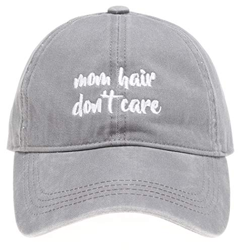 MIRMARU Baseball Dad Hat Vintage Washed Cotton Low Profile Embroidered Adjustable Baseball Caps (Mom Hair Don't Care (Small) - Grey) ()