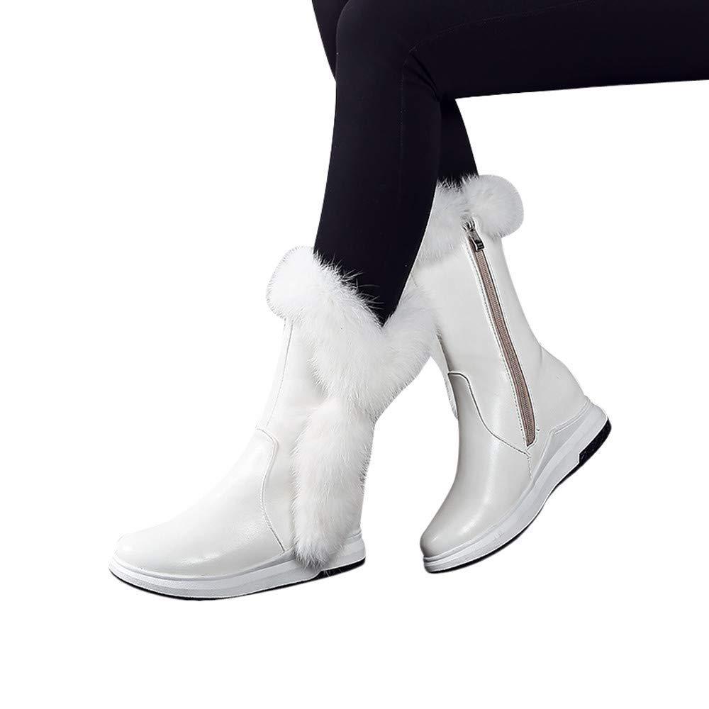 Qiusa Heiße Frauen warme Lange Stiefel Mode weiche keilstiefelSlope seitliche reißverschlüsse stiefelrunde Kopf Schuhe Bequeme lässige Winterstiefel
