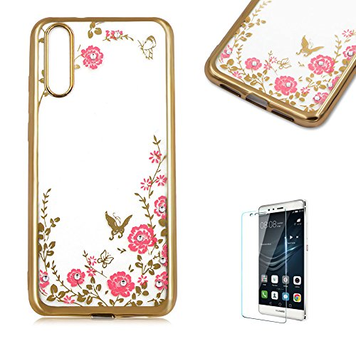 Price comparison product image Funyye Soft Silicone TPU Case for Huawei P20 Lite, Luxury Gold Electroplate Plating Frame Glitter Case for Huawei P20 Lite, Elegant Pink Flower Pattern Non-slip Protective Case for Huawei P20 Lite