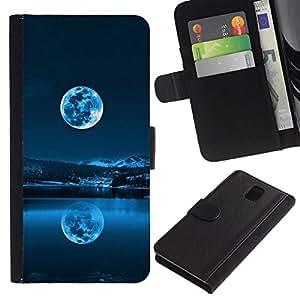 // PHONE CASE GIFT // Moda Estuche Funda de Cuero Billetera Tarjeta de crédito dinero bolsa Cubierta de proteccion Caso Samsung Galaxy Note 3 III / BLUE FULL MOON /