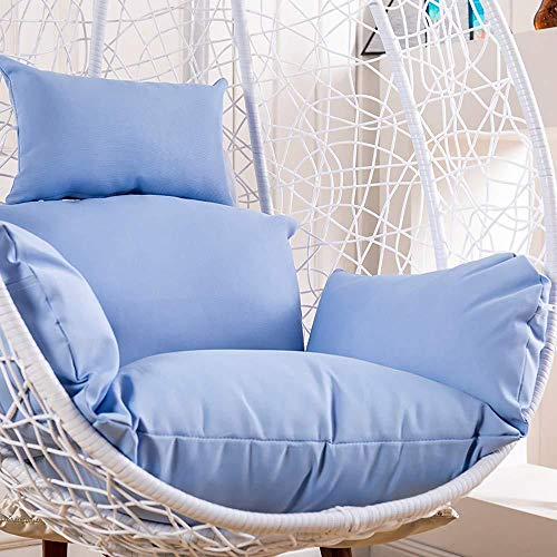 MonthYue Hanging Basket Chair Cushion, Wicker Rattan Hanging Egg Chair Pads Detachable with Pillow Thick Nest Hanging Chairs Back,Blue (And Between Wicker Furniture Rattan Difference)