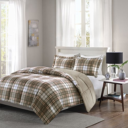 Parkston 3M Scotchgard Down Alternative Comforter Mini Set Tan Twin/Twin XL (Plaid Comforter Brown)