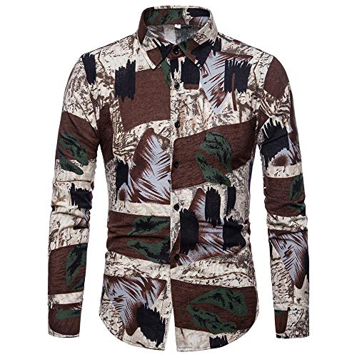 Toimothcn Men's Casual Button-Down Shirts Long Sleeve Patchwork Lapel Tee Top (Khaki,XL)