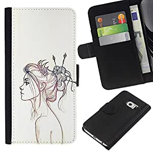 iBinBang / Flip Funda de Cuero Case Cover - Pencil Sketch Drawing Art Fashion - Samsung Galaxy S6 EDGE SM-G925