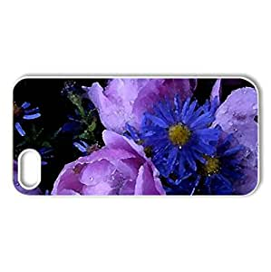 Purple Bouquet - Case Cover for iPhone 5 and 5S (Flowers Series, Watercolor style, White)