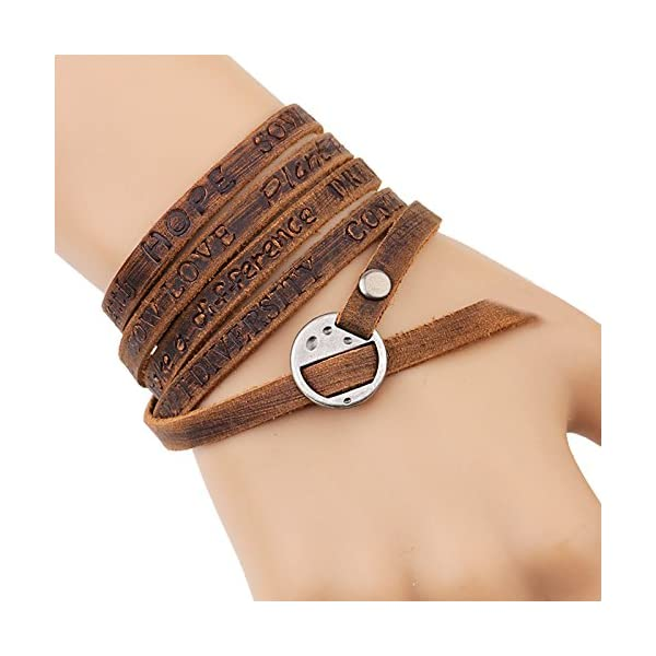 Retro Brown Five laps Men Gothic Top Leather Bracelets & Bangles Steampunk Charm Bracelets Couple Part Gifts 5