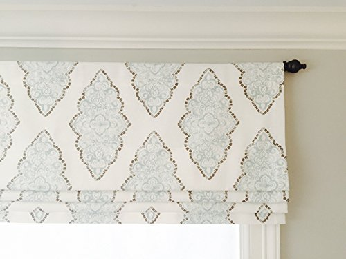 Faux (Fake) Roman Shade Valance With Lining. White, Blue and Grey.