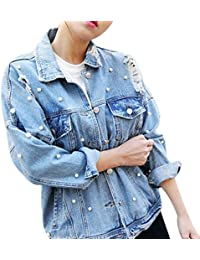 Womens Denim Jacket Long Sleeve Boyfriend Ripped Pearl Beading Button Up Denim Jean Jacket