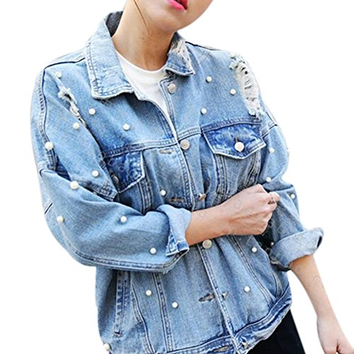 CHICFOR Womens Denim Jacket Long Sleeve Boyfriend Ripped Pearl Beading Button Up Denim Jean Jacket (Light Blue, S)