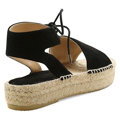 Andre Assous Femmes Samantha-une Plate-forme Sandale En Daim Noir