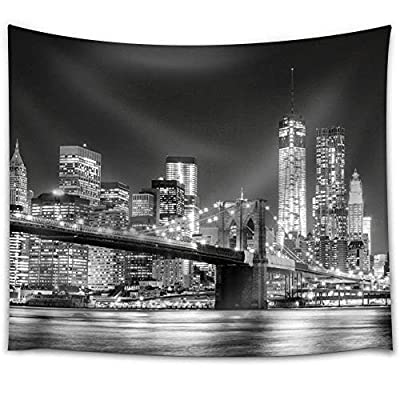 Unbelievable Piece of Art, That's 100% USA Made, Grayscale Photograph of The Brooklyn Bridge Looking Over York City at Night Time