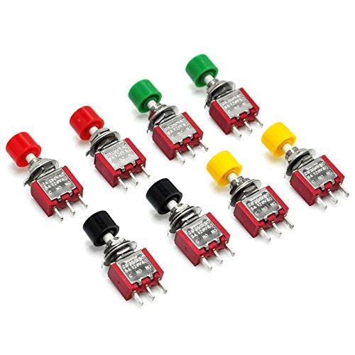 Gikfun AC 2A 250V/ 5A 120V NO/NC SPDT Momentary Push Button Switch DIY Kit for Arduino (Pack of 8pcs) EK1926