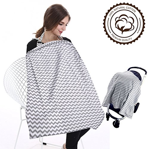 FicBox Breast Feeding Nursing Cover Made By Cotton (Gray Wavy)