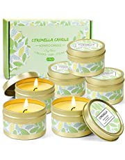 LA BELLEFÉE Citronella Candles Set Outdoor Travel Tin Candle Gift Set Ideal for Home, Kitchen, Indoors, Office and More (6 Pack)
