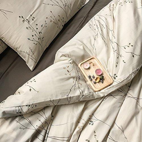 Retro Modern Design - Eikei Modern Vintage Retro Mod Print Bedding Egyptian Cotton Duvet Cover Set Minimalist Chic Botanical Design Asian Zen Style Reversible Pattern in Full Queen or King Size (King, Neutral Tan)