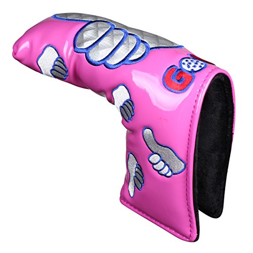 Thumb PU Golf Putter Headcover For Blade Style Golf Club Head Cover with Magnetic Headcovers (Pink Putter Cover)