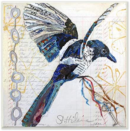Stupell Industries Bird Journal Collage Textured Animal Design Wall Plaque, Multi-Color