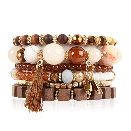 RIAH FASHION Bead Multi Layer Versatile Statement Bracelets - Stackable Beaded Strand Stretch Bangles Sparkly Crystal, Tassel Charm (Wood Bead/Tassel - ()