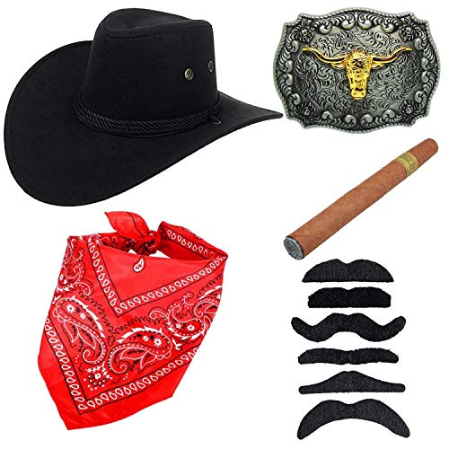 Western Cowboy Costume Accessories - Faux Felt Cowboy Boots Hat,Golden Long Horn Bull Belt Buckle,Cowgirl Bandanna,Black