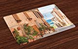 patio design pictures Ambesonne Mediterranean Place Mats Set of 4, Medieval Old Town in Tuscany Mediterranean Historic Culture Village Town Stone Photo, Washable Fabric Placemats for Dining Room Kitchen Table Decor, Tan