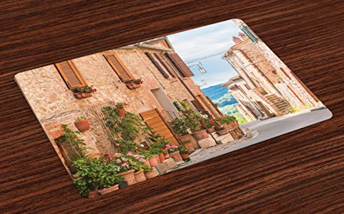 Ambesonne Mediterranean Place Mats Set of 4, Medieval Old Town in Tuscany Mediterranean Historic Culture Village Town Stone Photo, Washable Fabric Placemats for Dining Room Kitchen Table Decor, Tan