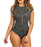 CXINS Women's Sexy Round neck Lace Up Open Back Bandage Tight Bodysuit Jumpsuit Leotard