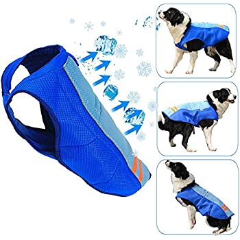 SHITONGDA Dog Cooling Vest, Breathable Cooling Coat Outdoor Anti-Heat Summer Blue Jacket Clothes for Medium and Large Pet Dogs (XL)